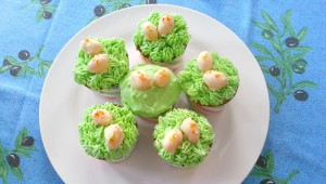 Lemon Cupcakes with White Chocolate Frosting and Marzipan